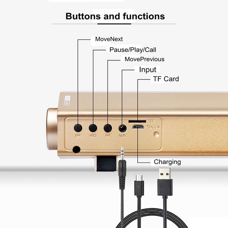 VTIN Wireless Bluetooth Speaker 4.2 SoundBar Remote Control TF Card TV Cellphone Tablet Surround Sound System TV Speaker Golden (7)