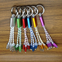 Key Chain Portable 8pin Micro USB Power Charger Charing Phone Wire Cord Rope Line Cable For IPhone 5 6 7 For Android