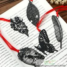 10pcs/lot New Hollow Black series Metal Bookmark students' DIY Multifunction Book marks funny gift Wholesale