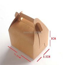 Kraft paper wedding/party DIY candy/chocolate/biscuit/cookie packing hand made box brown paper Portable cake gift boxes(China)