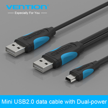 Vention Mini USB Cable with Dual-Power Usb 2.0 Power Supply Charger And Transfer Cable For Computer MP4 MP3 Hard Disk Camera