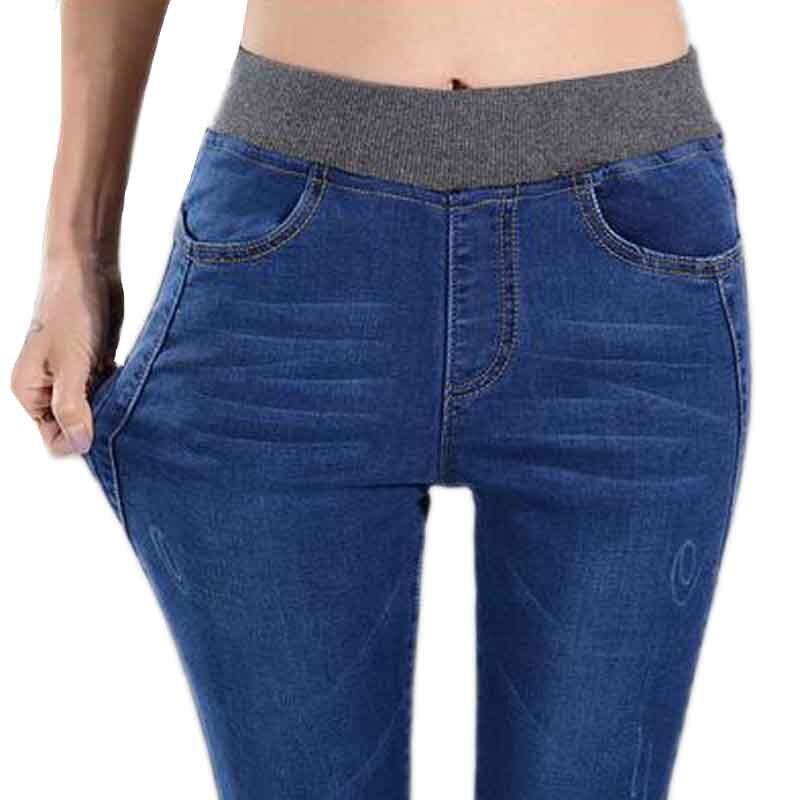 Plus Size Jeans Women Spring Pants High Waist Warm Jeans high Elastic Waist Pencil Pants Fashion Denim Trousers for womenОдежда и ак�е��уары<br><br><br>Aliexpress