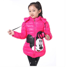 CNJiaYun Winter Minnie Girls Jacket Snow Treasure Kids Coats Cotton-padded Clothes Children's Keeping Warm Hoodies Kids Clothing(China)