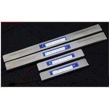 With Blue LED light High quality stainless steel Scuff Plate/Door Sill For2014 Citroen Elysee(China)