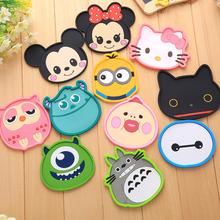 New Silicone Cartoon animal Totoro Hello Kitty Baymax Cup Coaster Nonslip Place Mat pads Cup Cushion Minions Tea Cup Holder(China)