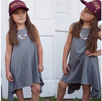 Summer Dress Baby Girls Clothes 2016 New Kids Girl Casual Sleeveless Roupas Infantis Menina Little Girls Asymmetric Dress 2-7Y<br><br>Aliexpress