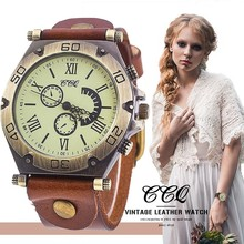 CCQ Brand Men Or Women Vintage Cow Leather Bracelet Watch Casual Luxury Male Wristwatches Relogio Masculino Relojes Hot Selling(China)