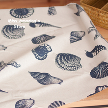 50x150cm Cotton Sea Shell Fabric Cloth DIY Handmade Sewing Patchwork Sofa Pillow Cover Curtain Tablecloth Beach Wedding(China)