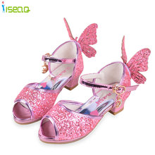 toddler elsa Girls sandals high heels shoes children fashion party andwedding summer shoes chaussure enfants fille sandalias(China)