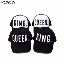 KING QUEEN baseball cap Print Trucker Caps Men Women Polyester Mesh Summer Flat Visor Snapback Hat White Black Couple Gifts