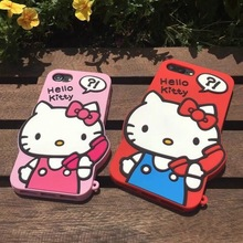 For iPhone 7 7Plus Japan Fashion Popular  3D Cartoon cat pink red Hello kitty Cute Lady soft rubber silicone phone case cover