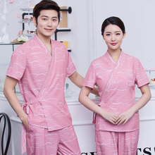 Health Club Clothing Foot Bath Pedicure Shop Technician's Clothes Spa Work Clothes Set Beautician Work Clothes Short Slee J249(China)