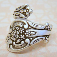 Drop shipping Retail New Hot Fashion Top Quality Antiqued Silver Spoon Ring, Adjustable Ring Thumb Ring Spoon Ring