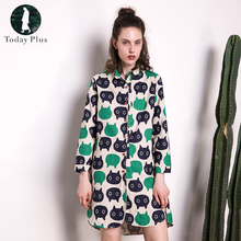 Today Plus 2017 Fashion Women Shirt Dress Square Neck Cotton Linen Animal Printed Oversized Loose Irregular Split Hem Dresses(China)