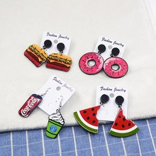 Cartoon Style 2018 Women Fashion Earrings Acrylic Simulated Food Watermelon Coca Cola Long Section Dorp Earrings Female Jewelery(China)