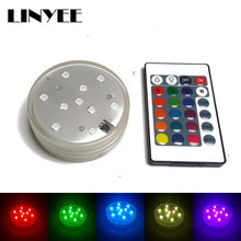 1X RGB LED Underwater Light Battery Operated Waterproof Swimming Pool Light LED Submersible for Party Piscina Pond+24 keys White(China)