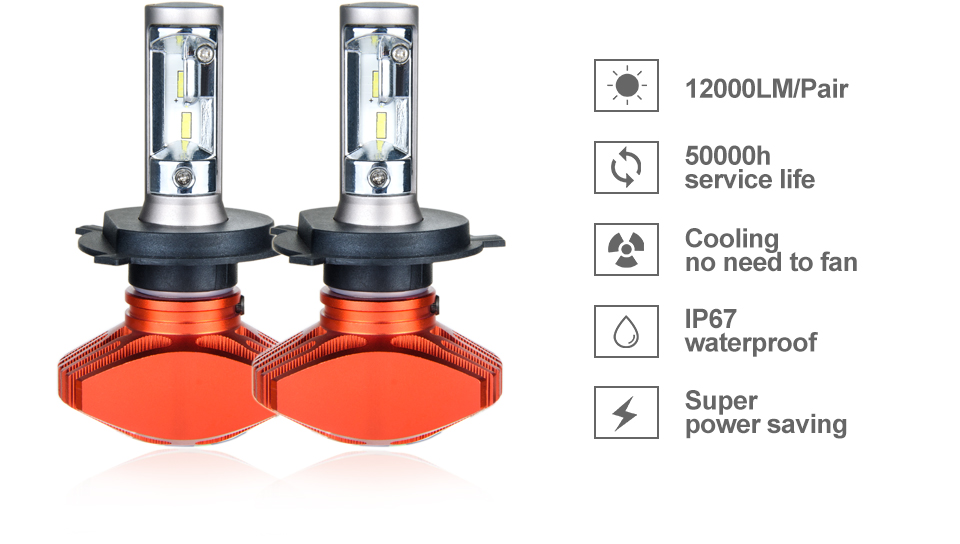 Aceersun H4 Hi Lo Car LED Headlight Bulbs 80W Fanless 12000LM 6500K CSP Led Auto Headlamp Fog Lamp Lighting Bulb 12v 24v HB2 H 4 (3)