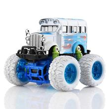 LeadingStar Diecast Cars Bus 1:34 4WD Alloy Big Wheels Shock Resistant Inertia School Bus Die Cast Model Buggy Toy Car Truck(China)