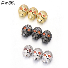 Pipitree CZ Crystal Spacer Beads DIY Jewelry Making Findings Copper Charm Round Crown Leopard Skull Beads for Bracelet Wholesale