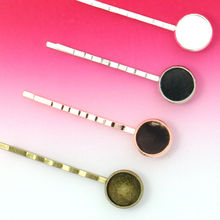 10Units 12mm Hair Jewelry Findings Hair Clip Blank Rose gold/Antique Bronze/Silver Cameo Bezel Setting Tray for Glass Cabochons(China)