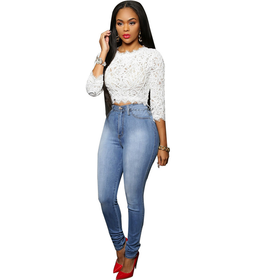 2017 New Arrival Woman Sexy Denim Pencil Pants Femme Skinny Jeans High Waist Pants Women Jeans Trousers E516Одежда и ак�е��уары<br><br><br>Aliexpress