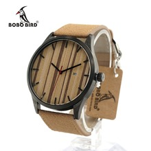BOBO BIRD I17 Retro Round Wrist Watch Mens Watches Top Brand Luxury Watches With Calendar Display Wood Dial In Box Accept OEM