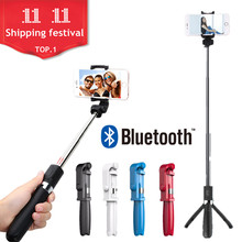 T3 Handheld Mini Foldable Tripod 4 in 1 Monopod Selfie Stick Bluetooth Wireless Remote Shutter Selfie Stick for Iphone SE 8(China)
