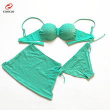 Buy Cooclo 3 Pieces Swim Suit Skirt Swimwear Women Mesh Bikini Set Sexy Beachwear Swimming Suit Women Push Bathing Suit 2018