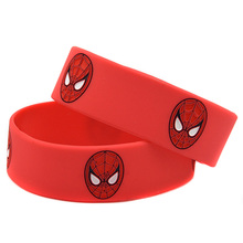 "Promo Gift 25PCS/Lot 1"" Wide Band Spiderman Wristband Ink Filled Logo Silicone Bracelet Blue & Red(China)"