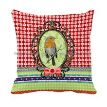 good luck rich bird in mirror printed red geometric pillowcase green gird decorative cushion cover for home and sofa