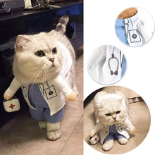 Cat Pet Costume Doctor Uniform Suit Dog Clothes Outfit Doctor Apparel Clothing, Cartoon Funny Pet Cat Clothes,Business Attire