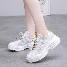 805b66f70d460 Calçados do verão 2019 Mulheres Da Moda Vulcanizada Sapatos Malha  Respirável Sapatilhas Sapatos Plataforma Das Mulheres