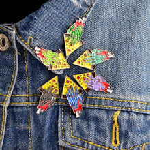 6pcs/set Share A Slice Zombie Hand Pizza Pin Set Brooch pizza party Denim Jacket Pin Buckle Badge Friendship Gift For Friend(China)