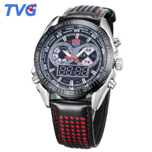 2017 TVG Mens Watches Top Famous Brand Luxury Fashion Sports Wrist Watch For Men Dual Time Quartz Watches Men Leather Wristwatch