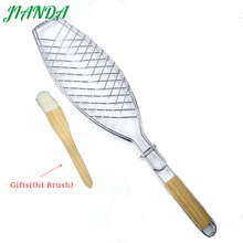 JIANDA (send gift)New Stainless Steel Non-stick Mesh Wood Handle Grilled Fish Barbecue Clip Net Outdoor Burgers BBQ Tools Grills(China)