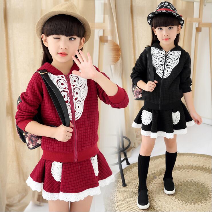 2017 Autumn Girls Skirt Set Solid Cotton Two Pieces Childrens Clothing Long-sleeve Ropa De Ninas Zipper Hook Flower Cardigan<br><br>Aliexpress