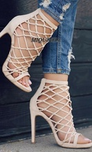 graceful nude hollow out women sandals super thin high heel open toe cover heel shoes fishing net shape fashion footwear