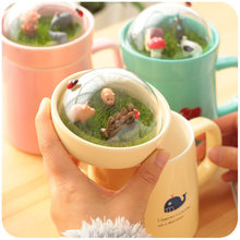 Top Quality Lovely Bone China Ceramic  Cute Totoro Cartoon Style Children Thermos Outdoor Water Cup 400ml Colorful Mugs Cups
