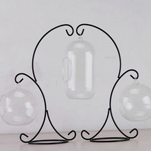 2-Hooks Hanging Glass Bauble Iron Stand Holder Home Garden Decor Hanging Holder Without Glass Ball Vase Pot Iron Stand Holder