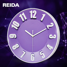 REIDA Brand 12 Inch Large Wall Clock Modern Design 3D Wall Clock Digital Candy Color Home Decor Mute Quartz Clock