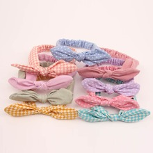 1Pcs Elastic Headbands Girls' Dots Rabbit Ears Head Bands Cute Plaid Hairband Headwear Hair Accessories(China)