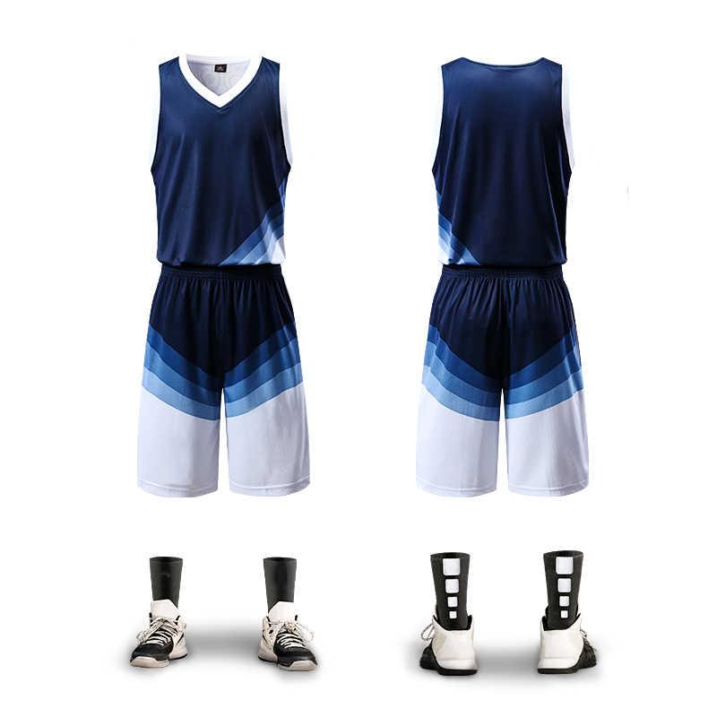 Новые баскетбольные майки набор мужчин пустой Тренировочный Джерси Набор  карманов спортивные костюмы дышащий взрослый команда баскетбольная a36433ab97e