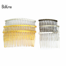 BoYuTe 10Pcs Wholesale Vintage Handmade Wire Comb Metal Hair Comb Base 4 Colors Plated Women's Diy Hair Jewelry