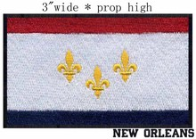 "New Orleans, Louisiana USA Flag patch 3"" wide shipping/gold fleurs/large white field/representative banner"