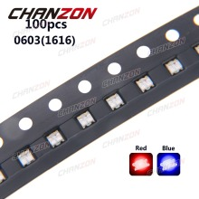 100pcs 0603 (1616) Bicolor Blue And Red SMD SMT Chip LED Light Emitting Diode Lamp Surface Mount Technology 20mA for PCB