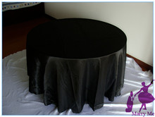 15pcs 90'' Soild Satin round wedding tablecloths in black color