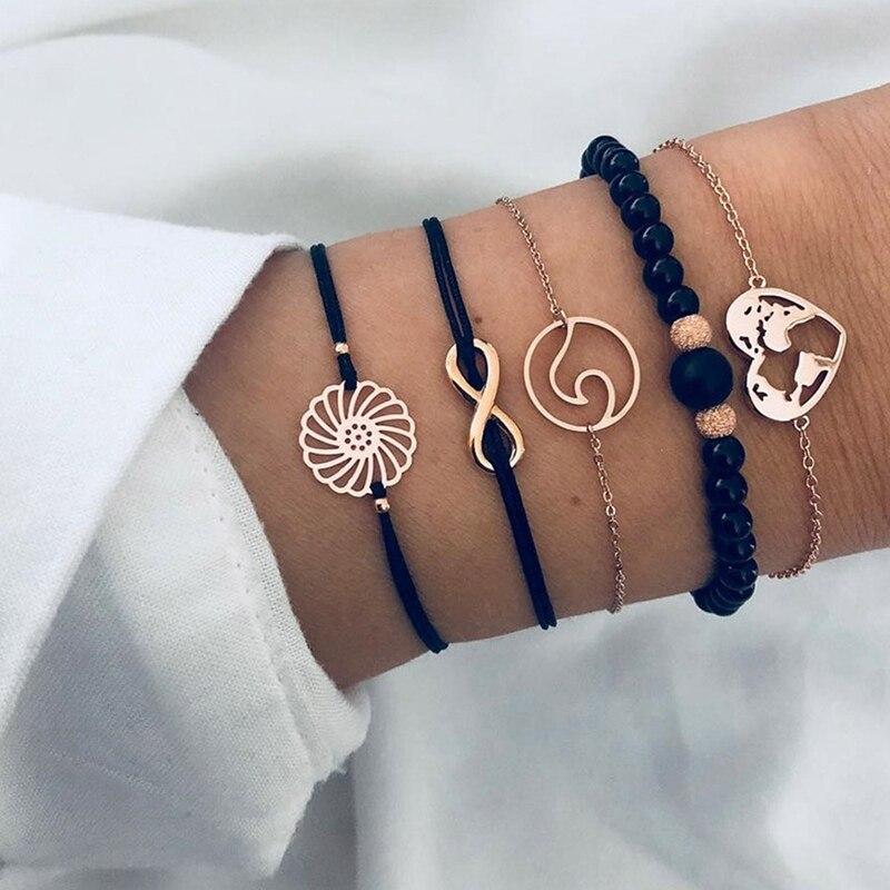 5 Pcs/ Set Punk  Heart Letter Love Crystal Beads Chain Multilayer Pendant  Bracelet Set Charm Girl Jewelry Gift