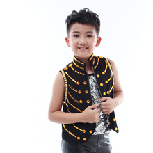 2015 new fashion slim Children's stage wear show vests white and black rhinestone children singer dj  jazz costumes for catwalk