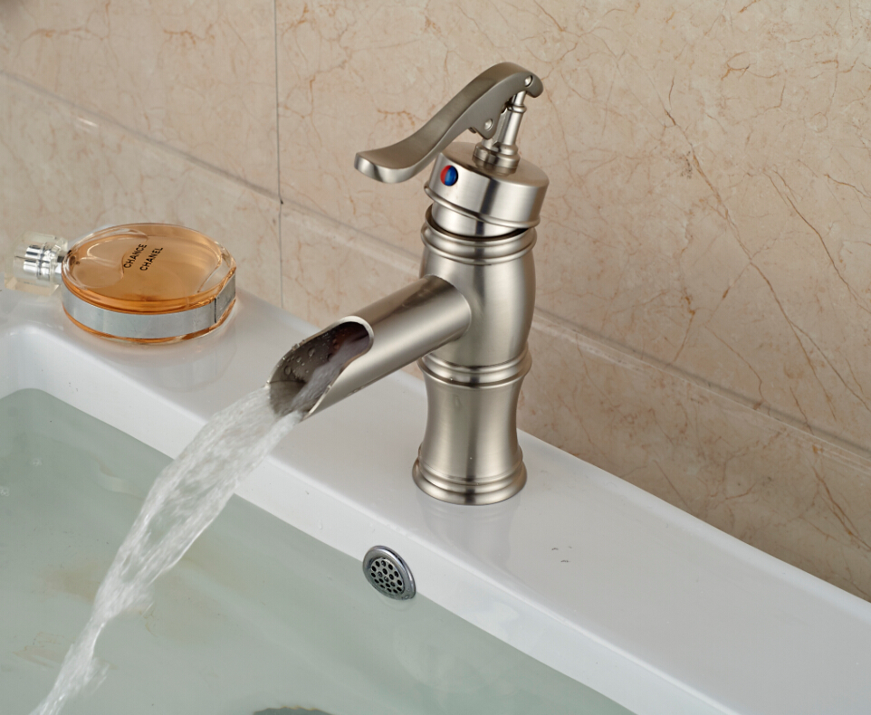 Waterfall bathroom sink faucets