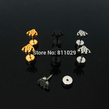 free shipping ear piercing 30pcs 1.2*6*6/(7*8)mm titanium plated colors Stainless Steel big white Robot fake plug